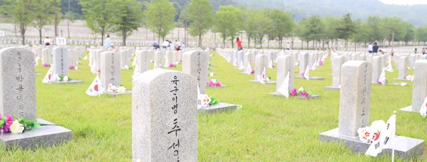 The view of plots 34 and 35, containing the graves of thousands of soldiers who lost their lives during the Korean war